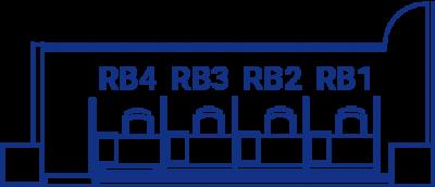 レンタルブースの間取り図。RB1〜4の4つの席が横並びになっている。