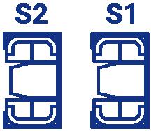 相談室の間取り図。S1, S2の2つのスペースがある。