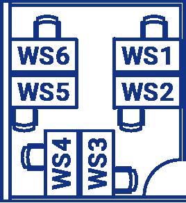 ワークスペースの間取り図。WS1〜WS6の6つの席がある。